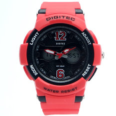 Digitec Women's- Jam Tangan Wanita - DG 2096 Merah  - Strap Karet - Dual Time