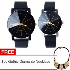 Jam Tangan Quartz 1 Pair Pria dan Wanita Strap Kulit PU Men Women Stainless Steel Leather Couple Watch - Black + Gratis 1pc Gothic Diamante Necklace