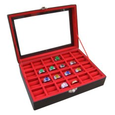 Jogja Craft Black Red Ring Box / Tempat Cincin / Box Cincin / Kotak Cincin Isi 24