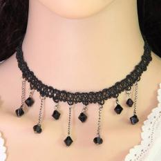 LRC Kalung Wanita Elegant Black Beads Tassel Pendant Decorated Weaving Chain Design