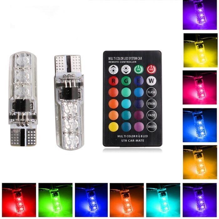 Lampu LED T10 Remote Wireless RGB Lampu Kota Senja Motor Mobil