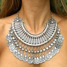 Women Bohemian Coin Statement Bib Necklace Festival Turkish India Tribal - intl