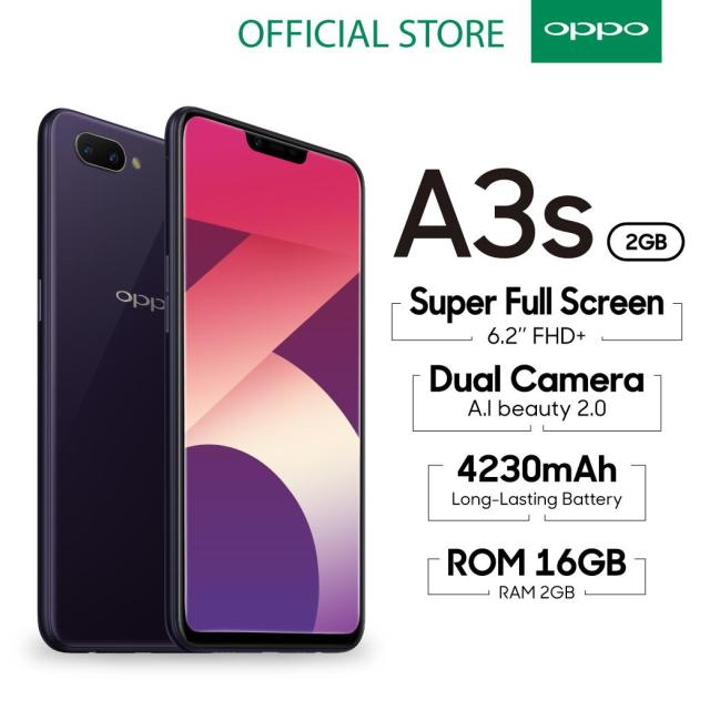 OPPO A3S SMARTPHONE 2GB/16GB , A.I Beauty, Dual Camera, Super Full Screen (COD, Garansi Resmi OPPO, Cicilan tanpa kartu kredit, Cicilan 0%, Gratis Ongkir)