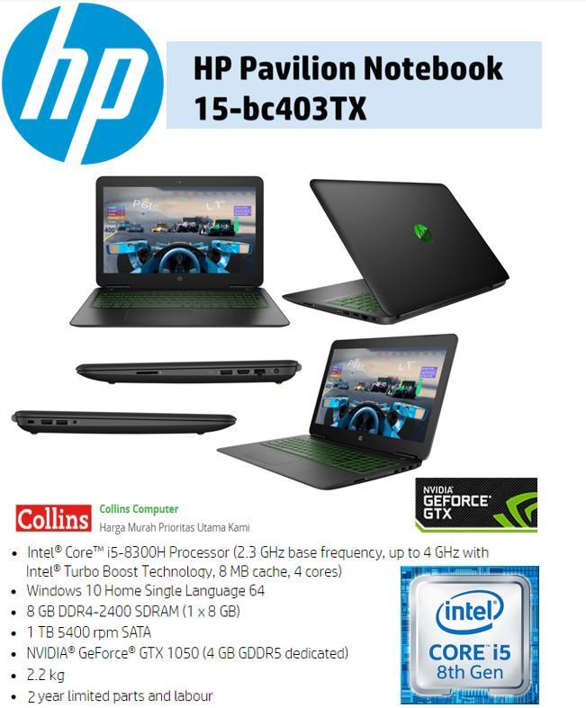 LAPTOP HP PAVILION 15-BC403TX - I5-8300 8GB 1TB GTX1050 4GB WIN10 15.6
