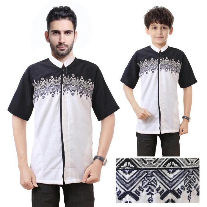Shining Collection Couple Baju Koko Farell Bordir Kemeja Muslim Ayah dan Anak