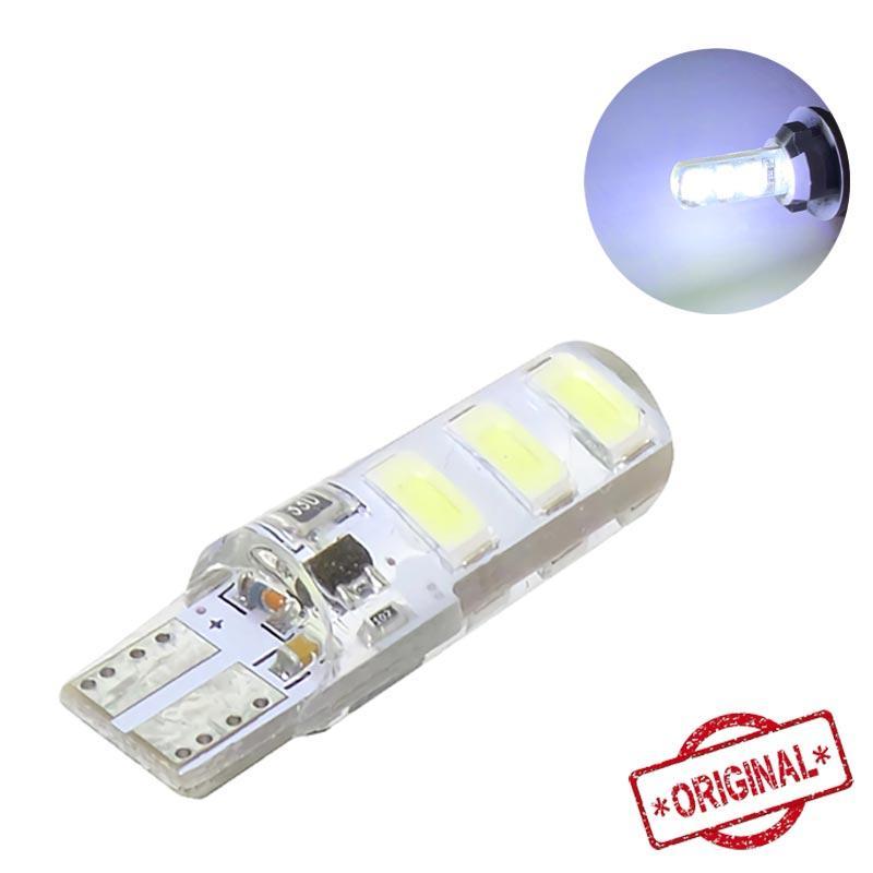 Lampu Senja Racing LED Kedip 6 Mata Socket T10 Strobo Mobil Motor TE-0025-001-5730 Putih (1 Pcs)
