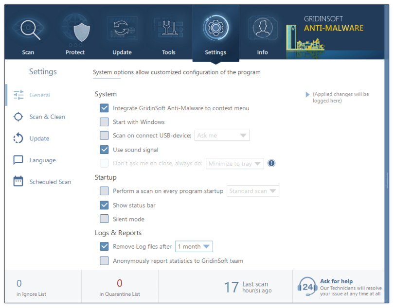 Settings tab in GridinSoft Anti-Malware