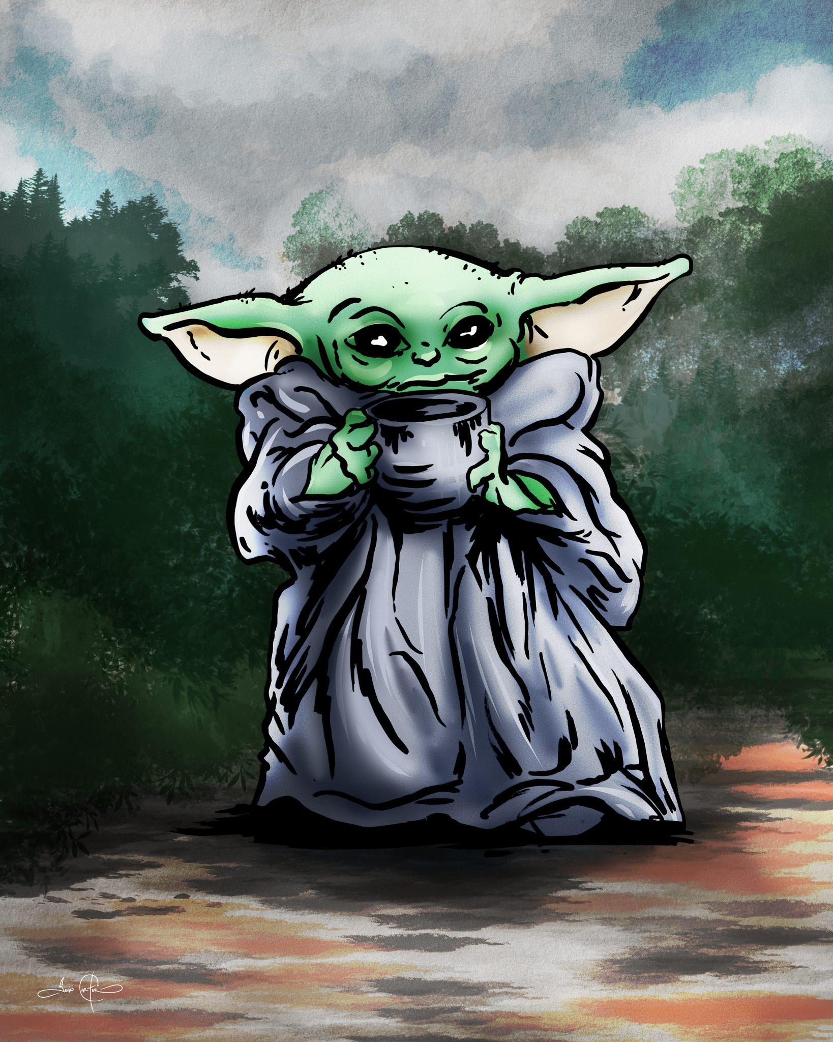 Fan Art Drawing Of Baby Yoda Id8tionist