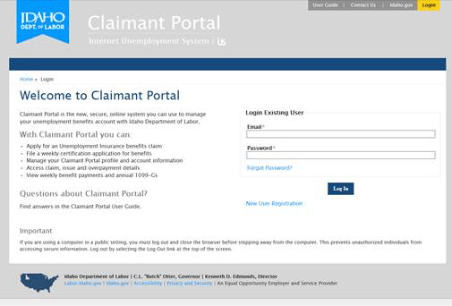 Unemployment claimant login screen