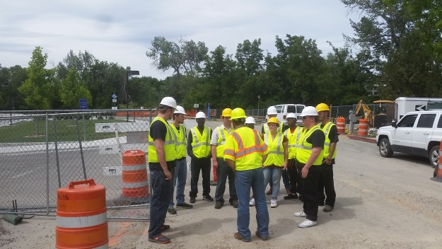 Jim Cox of JC Contractors met the students at the Broadway Bridget project in Boise, explaining the details about the job.
