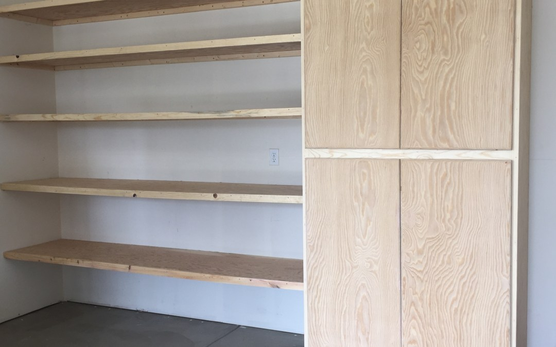Large Storage Cabinet and Shelves Solve Garage Clutter