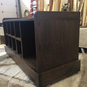 black walnut entry bench side