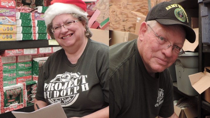 Ray and Cheri Archibald work on their charitable project Rudolph