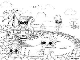 ЛОЛ куклы раскраска бассейн
