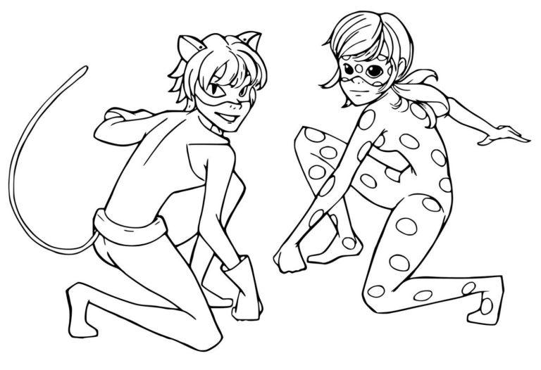 Раскраски Леди Баг Miraculous Tales of Ladybug Cat Noir