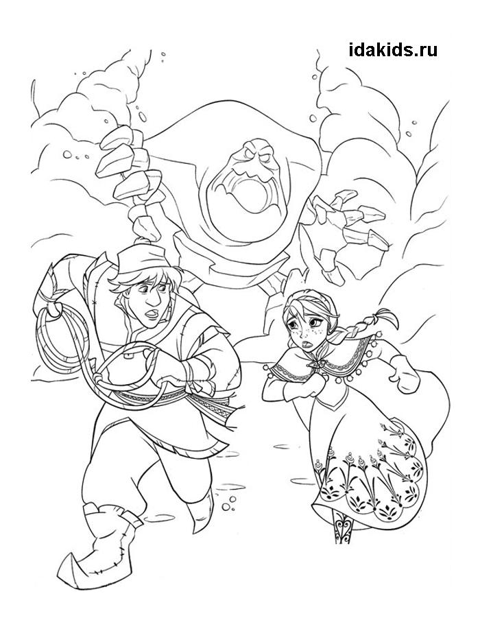 Раскраска Холодное сердце Анна и Кристофф убегают от Зефирки