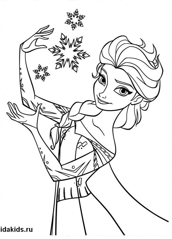 Раскраска Холодное сердце Эльза со снежинками