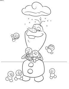 Раскраска Холодное сердце Снеговик Олаф и мальнькие снеговички