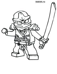 Раскраска Ниндзяго Лего Кай огненный ниндзя