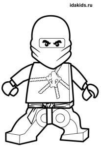 Раскраска Ниндзяго Лего Коул черный ниндзя