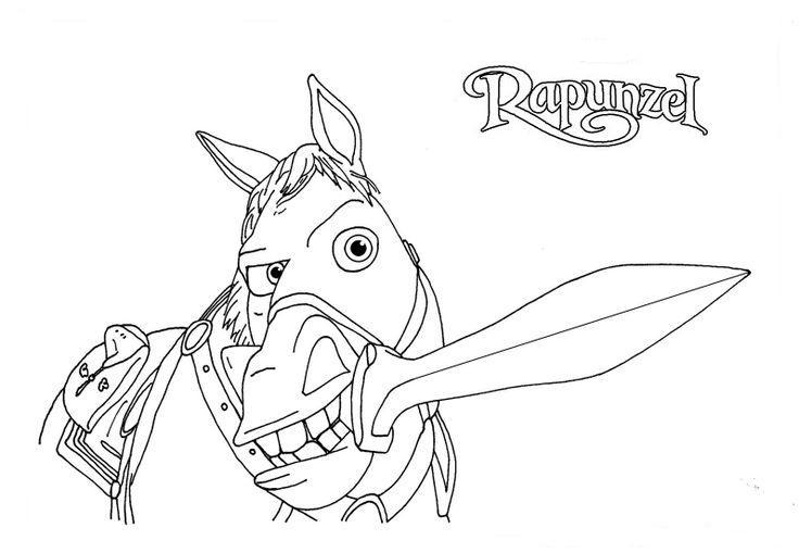 Раскраска Рапунцель Конь Максимус с мечом