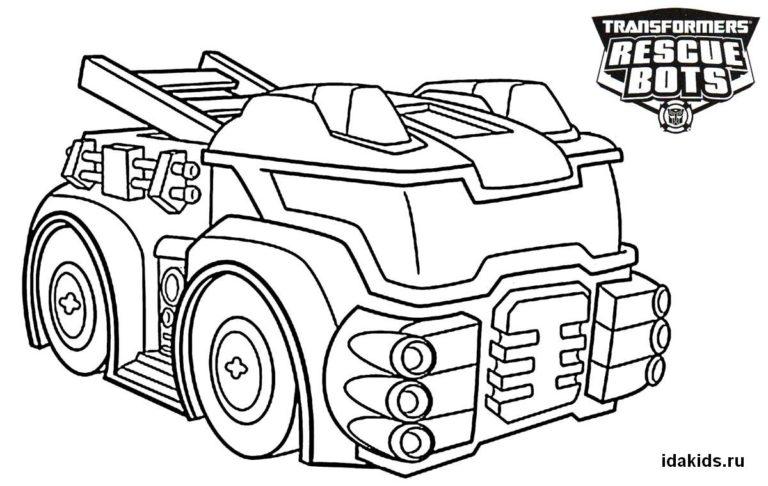 Раскраска Трансформеры Боты-спасатели машинка