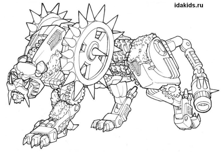 Раскраска Трансформеры Роботы-динозавры