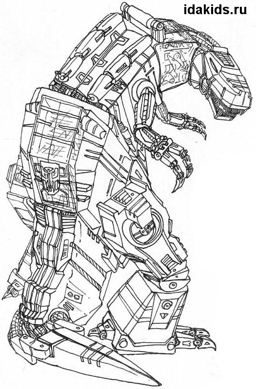 Раскраска Трансформеры Гримлок - зеленый эксковатор