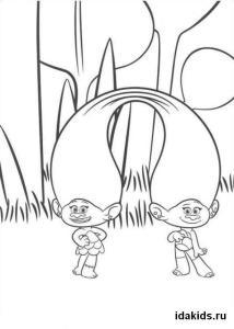 Раскраска Тролли Сатинка и Синелька