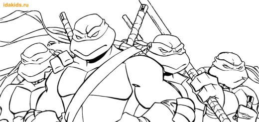 Раскраски Черепашки Ниндзя Эволюция Команда