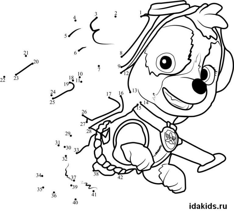 Раскраска Щенячий Патруль по номерам Скай