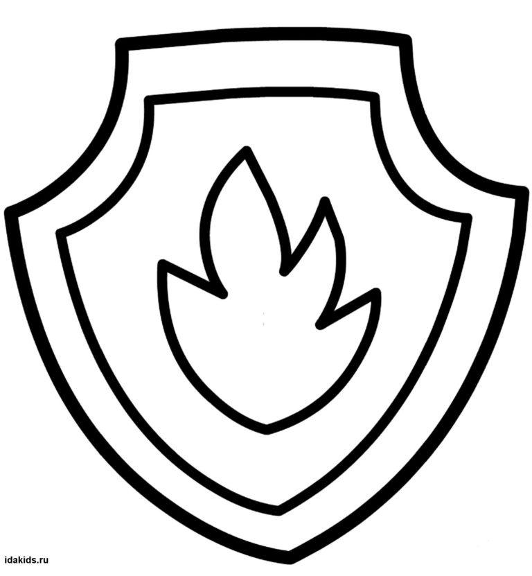 Раскраска Щенячий Патруль значок Маршала