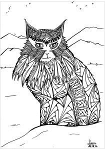 Cats - Free printable Coloring pages for kids9