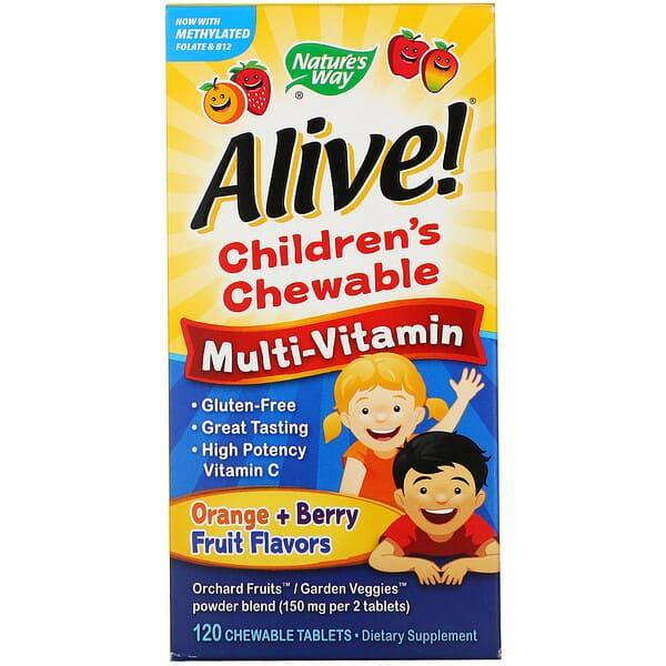 Nature's Way, Alive! Детский жевательный мультивитамин, вкус апельсина и ягод