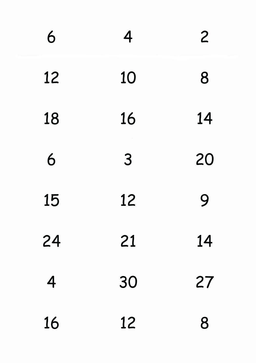 Jeux De Table De Multiplication 1 2 3 4 5