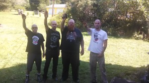 "Ronald ""Dozer"" Pulcher with other members of Aryan Strikeforce. For the record, Pulcher had no business with that gun in his hand being an ex-con and all."