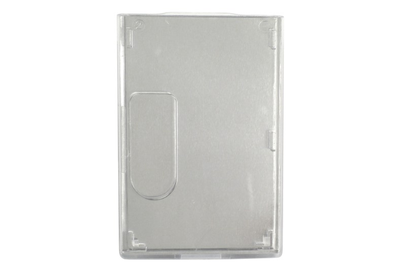 Shielded Badge Holder, Vertical, Rigid Plastic, Sheilded, Two Card