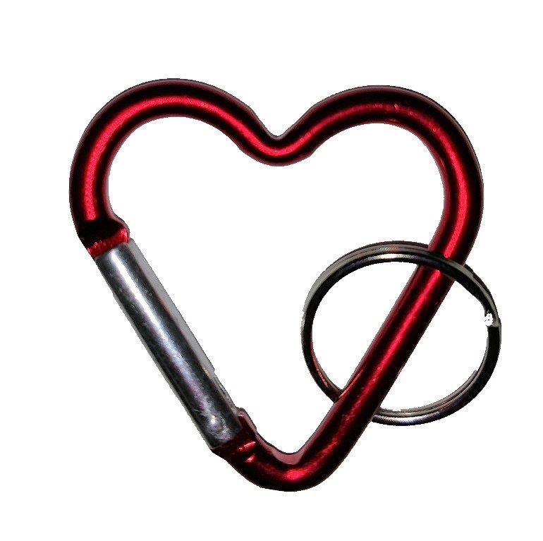 Carabiner Heart Shape RED with Split Ring