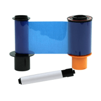 Fargo (K) ECO Ribbon w Black Cartridge and Cleaning Roller