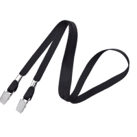 "Non-Breakaway 3/8"" Flat Lanyard with 2 Bulldog Clips Black"