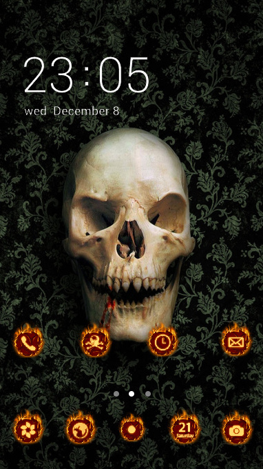 Download Themes Android C Launcher Skull Skeleton Wall