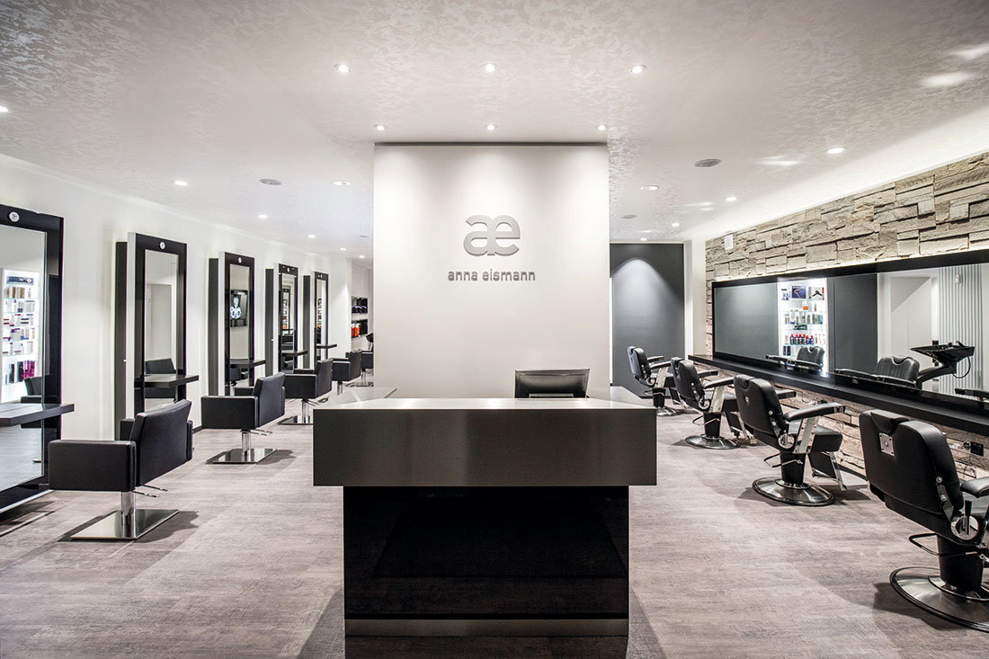 Friseureinrichtung, Friseurbedarf, Friseurstuhl, Friseurspiegel, Bedienplatz, Rezeption