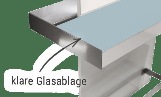 Friseur Bedienplatz, Friseureinrichtung, wechselbare Glasablage klar