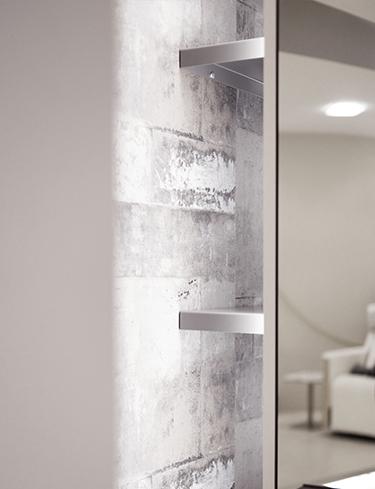 Friseureinrichtung, Friseur Bedienplatz Slim, Detail Ablage