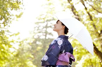 日傘をさした着物姿の女性