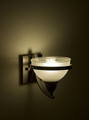 English: Energy efficient light fixture locate...