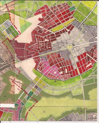 Part of the map showing dense urban fabric.