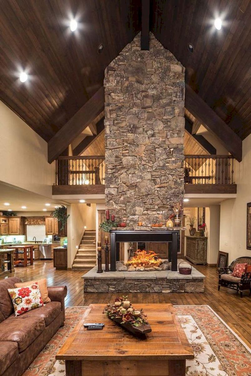 63 Best Log Cabin Homes Fireplace (11)