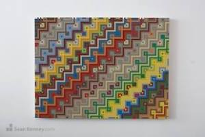 This is a mosaic by Sean Kenny, similar to the work just on display at the Boise Art Museum. Here the building technique is basic, but the patterns made are kind of hypnotic, aren't they?