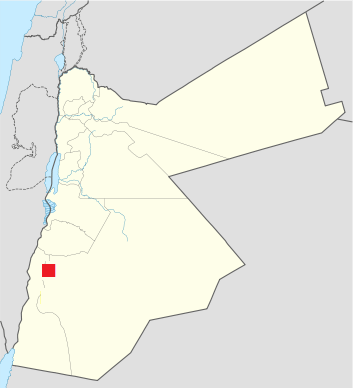 Location of Petra Raqmu in Jordan